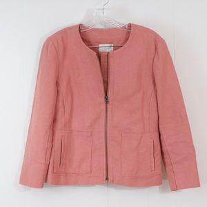 Loft pink linen blend blazer zip up no collar
